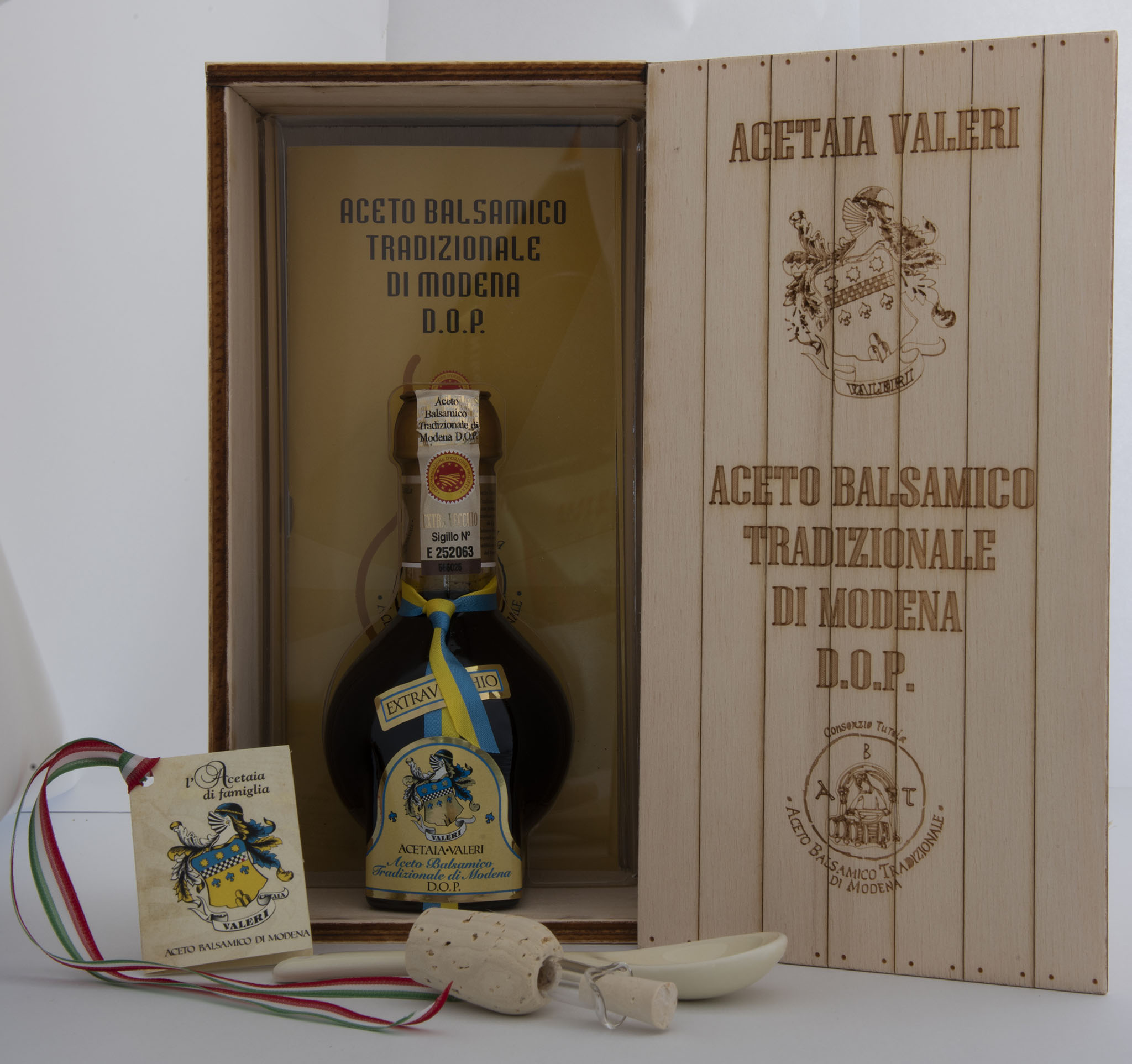 Traditional balsamic vinegar of Modena wood packaging