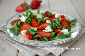 Strawberries , goat cheese and balsamic vinegar
