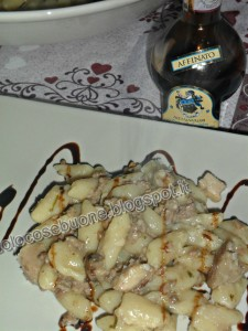 Gnocchi dripped of traditional balsamic vinegar of Modena
