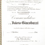 Valerio Gammage Commendatore della Repubblica