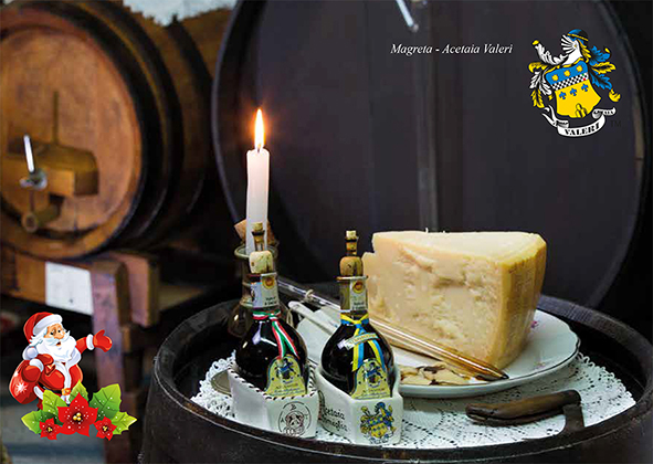 At Christmas traditional Balsamic vinegar of Modena DOP and Parmigiano Reggiano, a gift of good taste