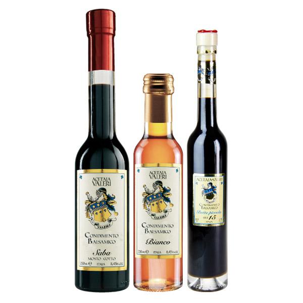 Proposta Famiglia 4 Condimenti Balsamici Acetaia Valeri: Bianco, Saba, Botte Piccola