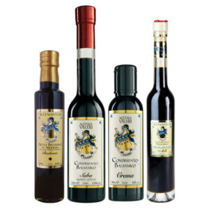 Proposed Family 7 Balsamic Vinegar Acetaia Valeri: Cream, Abbess, Saba and small packages