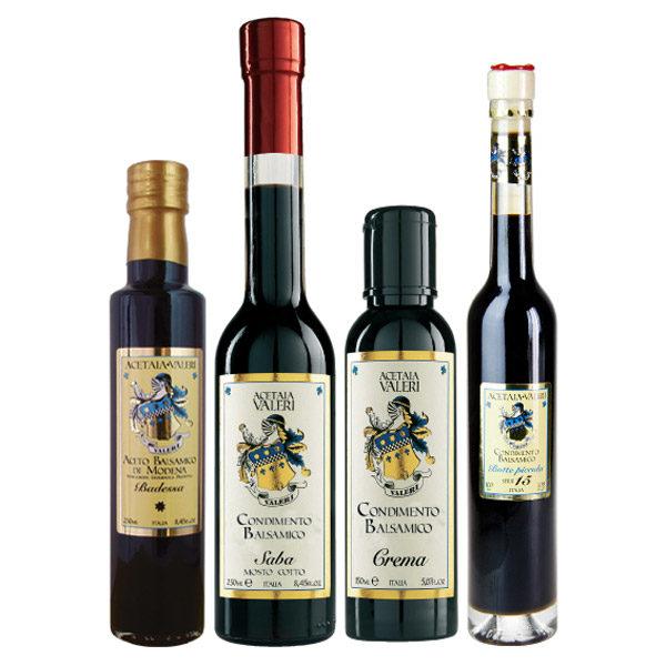 Proposta Famiglia 7 Aceti Balsamici Acetaia Valeri: Crema, Badessa, Saba e Botte Piccola