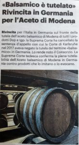 Balsamic Vinegar from Modena is protected in Germany