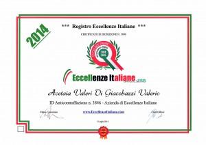 "Certificato ""Eccellenze Italiane"" Acetaia Valeri"