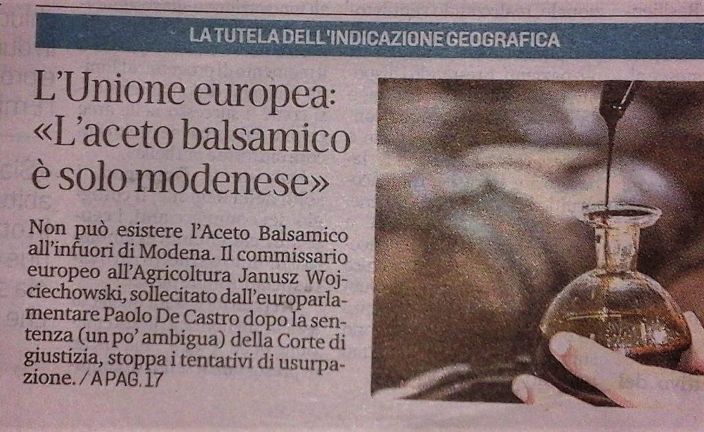 Unión Europea confirma la protección del vinagre balsámico de la IGP de la convocatoria