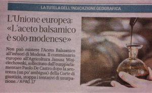 Europäische Union bestätigt Schutz von IGP Balsamico-Essig vor Vorladungen