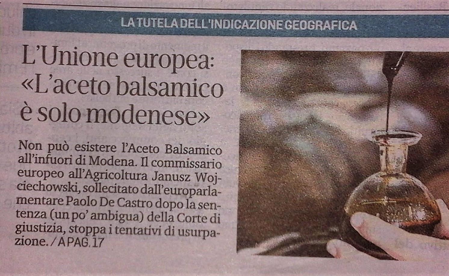 Unione Europea conferma la protezione dell'Aceto Balsamico IGP da evocazioni