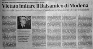 Vietato imitare l'Aceto Balsamico di Modena